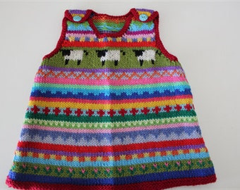 """Red """"sheep"""" pinafore - size 3 months - hand knittec"""