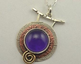 Amethyst Pendant - Purple Stone Pendant - Artisan Pendant - Mixed Metal Jewelry