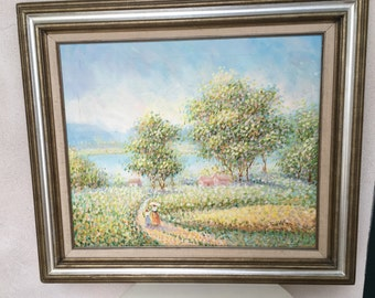 Vintage landscape acrylic painting pastels couple walking signed C Helion framed