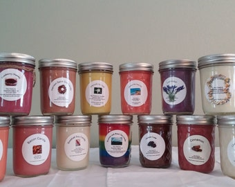 Five Soy Candles in Mason Jar, Homemade Candles / Soy Candles / Handmade Candles / Candles