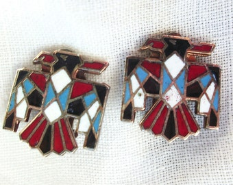 Thunderbird Clip on Earrings ~ Antiqued Copper Metal with Hand Inlayed Enamel ~ Vintage ~ Boho / Southwestern ~ Tribal ~