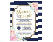 Couples Shower Invitation - Navy and Gold Wedding Shower Invitation - Bridal Shower Invitation - Gold Glittter - Printable - watercolor