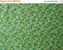 25% OFF Cotton Polyester Blend Floral Fabric Bright Green with Jade Green, Orange and White Flowers - 1 1/2 Yard - CFL0598