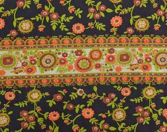 Vintage Cotton Fabric, Manes Fabric, Vintage Stripe Fabric, Fabric by the Yard, Vintage Fabric, Cotton Floral Fabric - 1 Yard - CFL1695