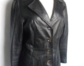 Black leather jacket size 12/14 vintage soft leather womens ladies