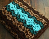 Striped Afghan in Brown Turquoise and Teal - Crochet Throw Blanket