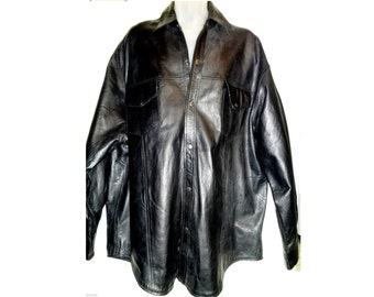 MENS 2X 3X Big & Tall Leather Jacket Coat Black EXCELLENT Long Sleeves Thick Cowhide 52 54