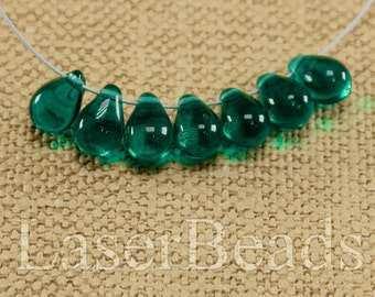 Teardrop beads 30pc 9mm Teal tear drops Czech glass teardrop beads Sea green beads Tear drop beads Green teardrops Small top drilled last