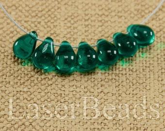 Teardrop beads 30pc 9mm Teal tear drops Czech glass teardrop beads Sea green beads Tear drop beads Green teardrops Small top drilled last