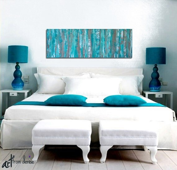 Turquoise wall art Abstract canvas print panoramic Aqua Like this item . Artwork For Bedroom. Home Design Ideas