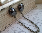 Sweater Guard / Sweater Clip: Vintage Inspired Gray Black Hematite Glass with Antiqued Chain. Cardigan Clip. Blouse Clip.