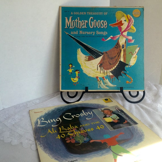 Vintage Children's Records / Golden Treasury of Mother Goose / Bing Crosby Reads Ali Baba and the Forty Thieves / Stories on Vinyl