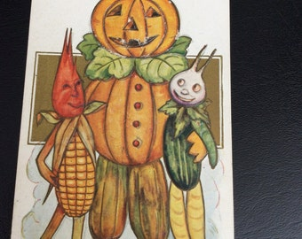 Vintage 1909 Halloween Postcard Pumpkin Man With Vegetable Friends Postcard Series