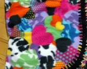 Colorful Hearts crochet edged Fleece Blanket by FreCkLes GarDeN