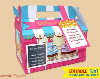 Cupcake Shop, Favor, Gift Box (Hot Pink) - Editable Text Printable PDF - INSTANT DOWNLOAD