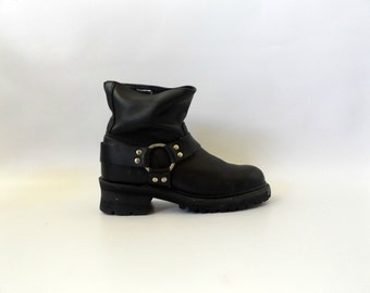 Black Harness Motorcycle Boots Vintage 90s Womens Size 9 Grunge Biker Boot Hipster Boho Goth Shoes 1990s Double H Moto Lower Calf Height
