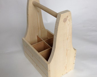 Beer Caddy - drink tote from Canadian spruce with removable dividers.