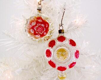 1930s Vintage Glass Christmas Ornaments Fancy Mold Blown German Decorations