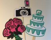 Bridal shower photo props, 3 photo props, Wedding photo props, photo booth props, camera prop, flower bouquet prop, wedding cake photo prop