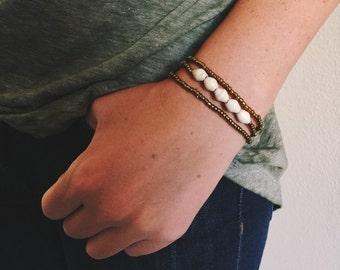 Cream Bead Bracelet Set
