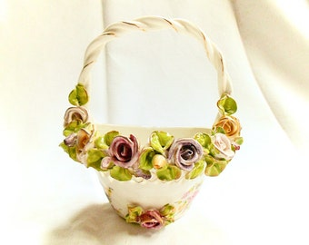 Hand Painted Porcelain Floral Relief Basket Wall Pocket (C060)