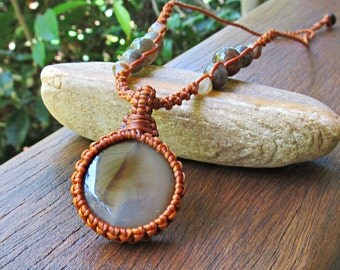 Agate Stone Macrame Pendant Necklace - Burnt Orange Thread