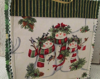 Gift Bags Candy  Snowmen Holidays Christmas Fabric