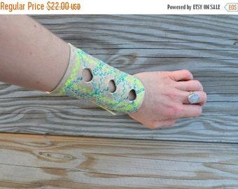 SUMMER SALE Geometric Leather Cuff Bracelet - Leather Cuff Bracelet - Embroidered Leather Cuff - Neon
