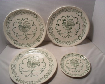 Small Lot of Rooster or Chicken Weather Vane Pattern Vintage Stoneware Plates 3 Dinner and 1 Dessert
