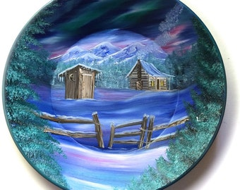 Hand Painted 11 Inch Gold Pans Mountain Winter Cabin Northern Lights Out House