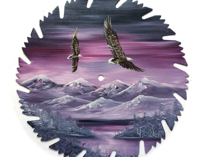 Hand Painted Saw Blade Mountain Scenery Mauve Winter Pair Eagles