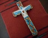 Reserved for Itaylor00  , Handpainted Cross, Southwestern, White Bird, Eagle, Rustic, Geometric Pattern, tan, black, orange