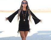 BLACK Playful Priestess Dress, Festival Dress, Festival Clothing, Hippie Dress, Burning Man, Gypsy, Boho, Boho Dress, Bell Sleeves