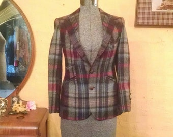 Polo Ralph Lauren Plaid Wool Equestrian Tiny Fit Blazer XS