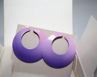 Avon Calypso Pierced Earrings, Passion Fruit Purple Enameled Metal, New Vintage 1987