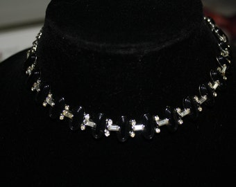 Vintage Kramer Rhinestone and Black Lucite Necklace