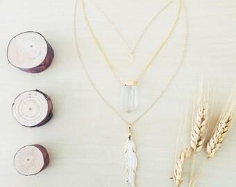 Luna Quartz Crystal Feather Necklace