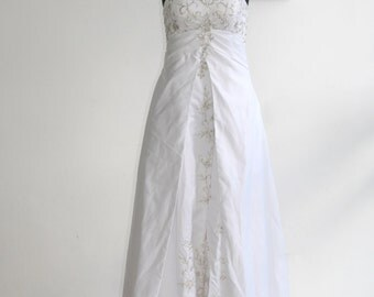Vintage Size 8US Aline Ivory Organza Beaded Lace Appliques Wedding Dress Gown