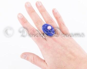 Rose Quartz Bead Ring, Blue Felt Ring, Eco Friendly Jewelry, Bohemian Ring, Textile Fiber Jewelry, Hippie Jewelry, Adjustable Statement Ring