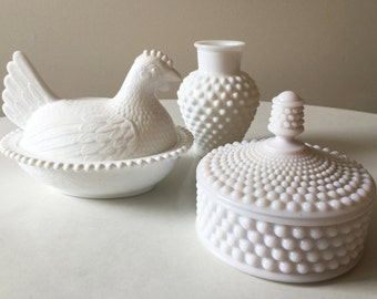 Westmoreland Glass and Indiana milk glass hobnail lidded dish, and vase