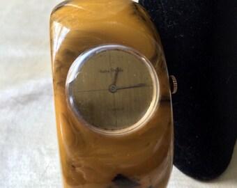 Vintage Andre Rivalle Bakelite Watch Bracelet /Spring Hinged Cuff Bakelite 17 Jewel Watch / Bakelite Clamper Style Bracelet Watch