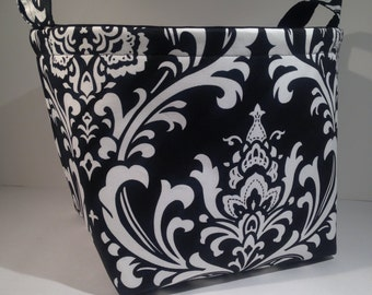 Extra Large 10 x 10 x 10 Fabric Basket Organizer Bin Storage Container- White on Black Damask Print with Solid Black Interior