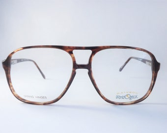 Mens Tortoise Aviators, Vintage Mens Eyeglasses, Brown Mens Glasses with Flexible Temple Arms, New Old Stock Frames