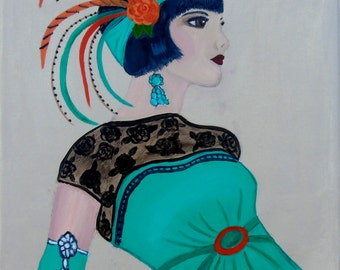 Deco Lady With Black Lace Top