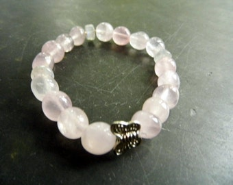 Bracelet, Rose Quartz, pink, butterfly, silver, women