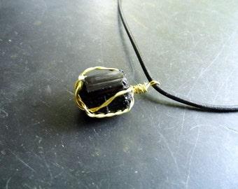 Pendant, tourmaline, wire, men, Shaman wrapped, black,