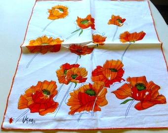 Vintage Vera Neumann Napkins Set of 4 Orange Poppy Design