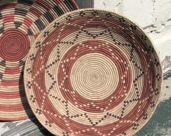 Vintage Papago Basket, Tohono D' Odham Tribe, Large Winnow Basket, Zig Zag Pattern, Very Clean, Excellent Condition, Southwest Decor