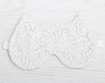 White Mask, Lace Sleep Mask, Cat Lover Gift, Bridesmaid Gift, Mother's Day Gift, Valentines Day Gift, Slumber Party Mask, New Mom Gift
