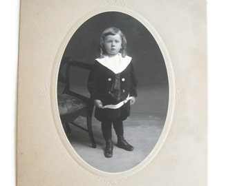 Vintage oval black and white photo young boy photograph Canada Ontario Oshawa Stedham photography